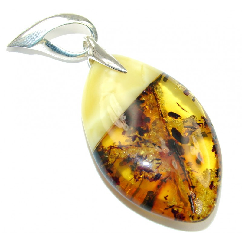 Exclusive Design! AAA Baltic Polish Amber Sterling Silver Pendant