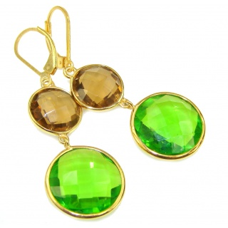 Sublime Multicolor Quartz, 18K Gold Plated Sterling Silver earrings / Long