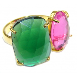 Amaizng Green Quartz & Raspberry Quartz 18K Gold Plated Sterling Silver Ring s. 7 1/4