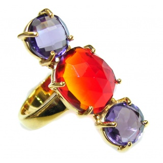 Lovely Red Quartz & Purple Quartz 18K Gold Plated Sterling Silver Ring s. 7 1/2