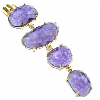 Royal Beauty! Purple Quartz 18K Gold Plated Sterling Silver Pendant / Long