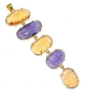 Pale Beauty! Purple Quartz & Gold Quartz 18K Gold Plated Sterling Silver Pendant / Long