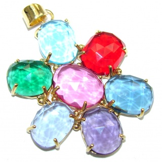 Floral Design! Multicolor Quartz 18K Gold Plated Sterling Silver Pendant