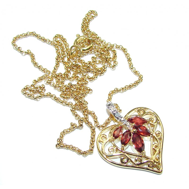 Real Mozambique Garnet & White Topaz, Gold Plated Sterling Silver necklace