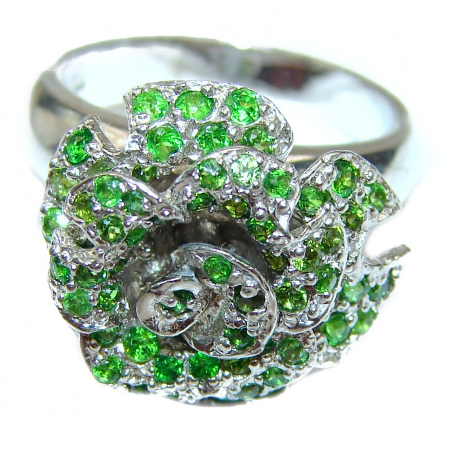 Spectacular Genuine Chrome Diopside .925 Sterling Silver handcrafted ring size 8 1/4