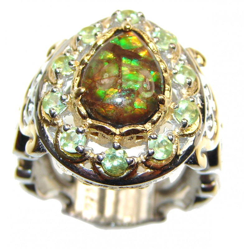 Ammolite and Peridot Silver Ring