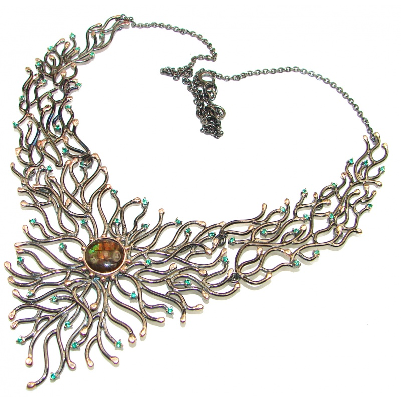 Ammolite and Chrome Diopside Statement Necklace