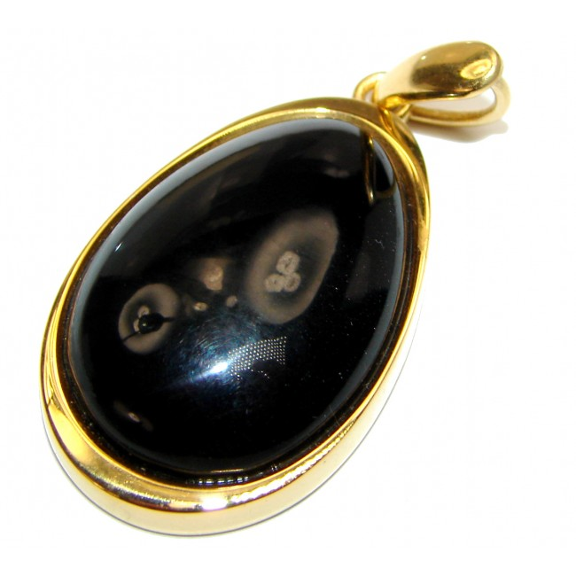 Vintage Style Cognac Natural Baltic Amber 14K Gold over .925 Sterling Silver handmade Pendant