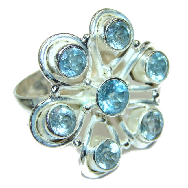 Swiss Blue Topaz .925 Sterling Silver handmade Ring size 8 3/4