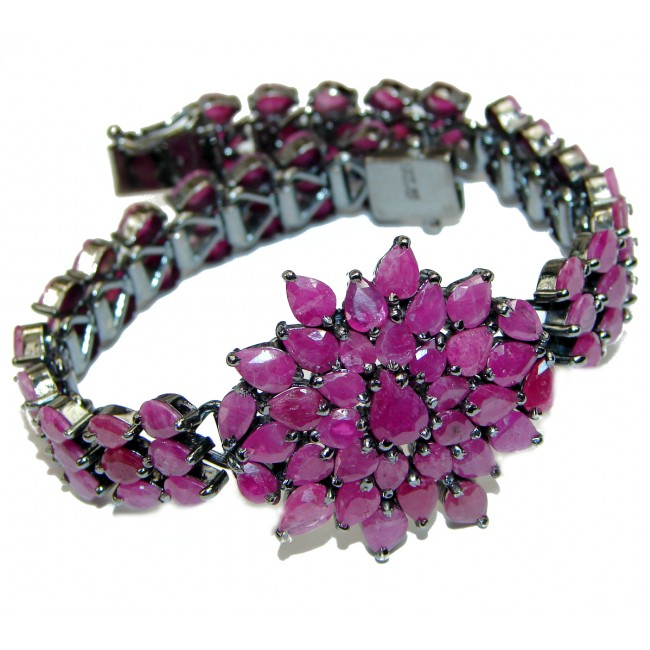 Spectacular Authentic Red Ruby .925 Sterling Silver handcrafted HUGE Bracelet