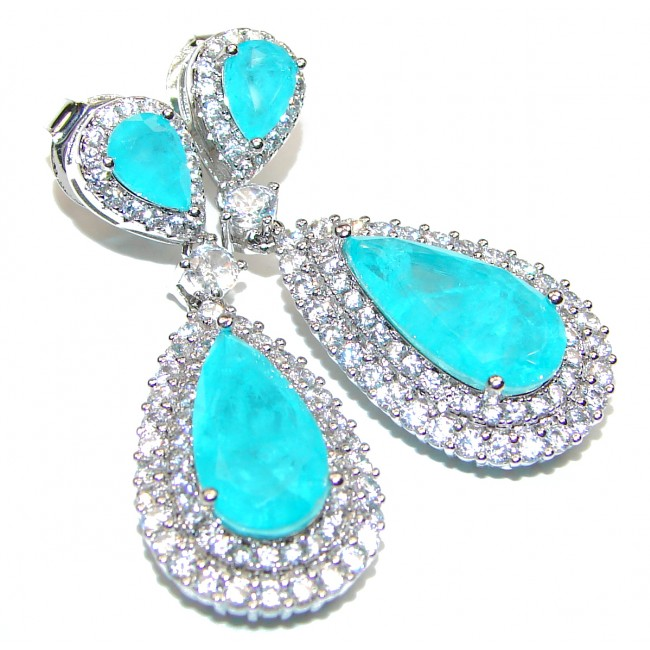 Incredible Paraiba Tourmaline .925 Sterling Silver entirely handmade earrings