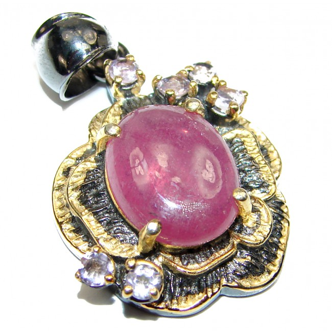 Genuine Ruby .925 Sterling Silver handcrafted pendant