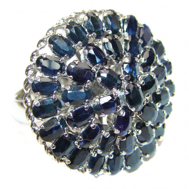 Large Blue Star Design Natural Sapphire .925 Sterling Silver handcrafted Ring s. 8 1/4
