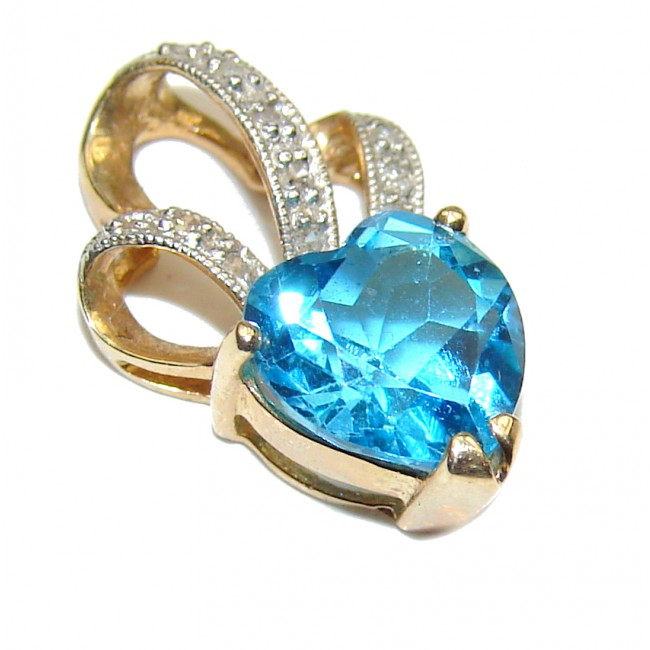 14K Yellow Gold genuine 2.15 carat Swiss Blue Topaz Pendant